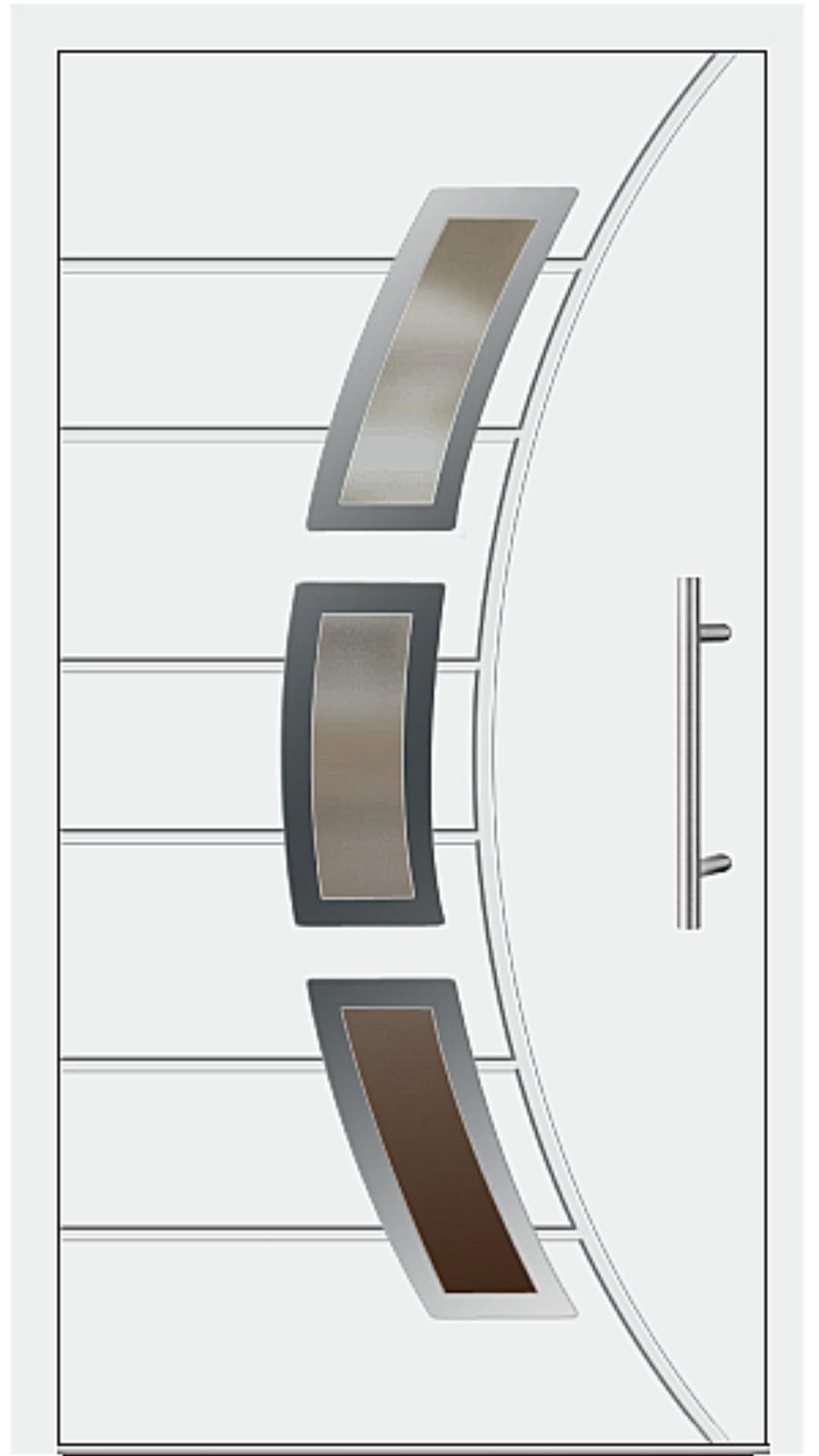Aluminium Haustür Modell 6437-72 weiß
