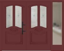 Haustüren Zweiflügelig Mit Seitenteil Rechts Rot Konfigurieren