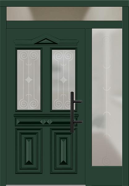 holz haust r modell 7050 moosgr n mit seitenteil rechts und oberlicht. Black Bedroom Furniture Sets. Home Design Ideas