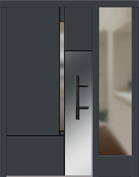 holz haust r modell 8380 anthrazitgrau mit seitenteil rechts. Black Bedroom Furniture Sets. Home Design Ideas