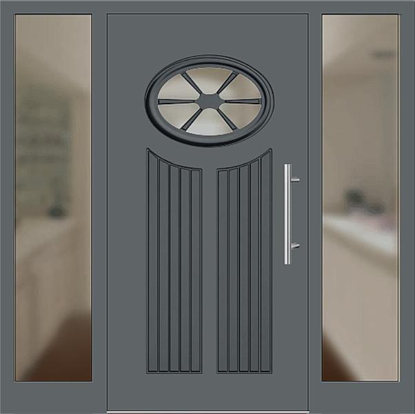 Kunststoff Haustür Modell 25 11 Basaltgrau Haustüren Mit Seitenteil Links  Und Rechts