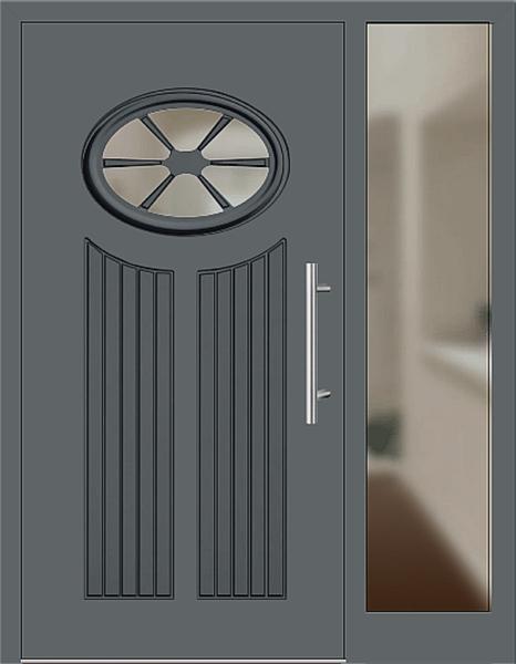 Kunststoff Haustür Modell 25 11 Basaltgrau Haustüren Mit Seitenteil Rechts