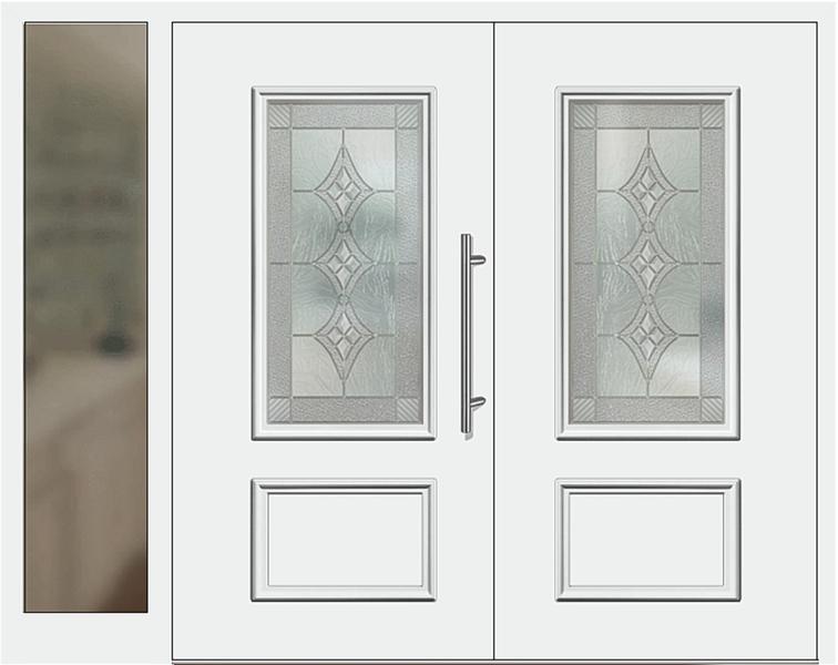 Kunststoff Haustür Modell 420 10 Weiß Zweiflügelig Mit Seitenteil Links