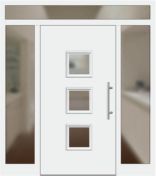 Kunststoff Haustür Modell 6418 60 Weiß Haustüren Mit Seitenteil Links Und  Rechts Und Oberlicht