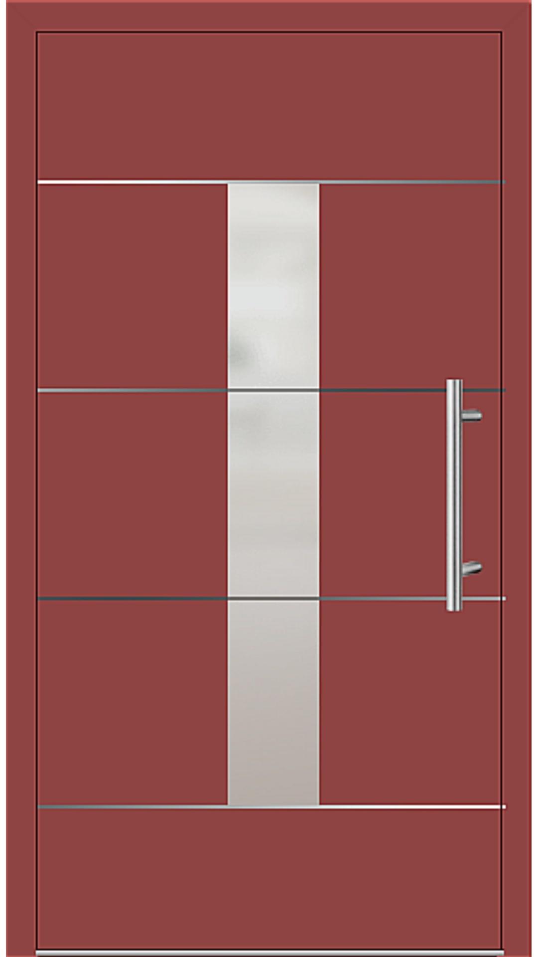 Aluminium Haustür Modell 6184-54 feuerrot