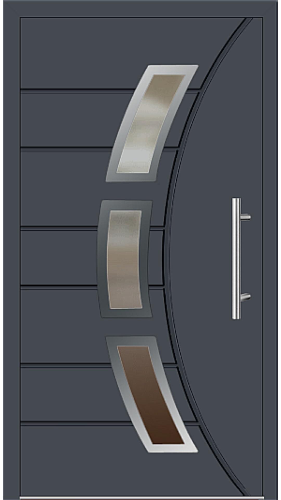 Aluminium Haustür Modell 6437-72 graphitgrau