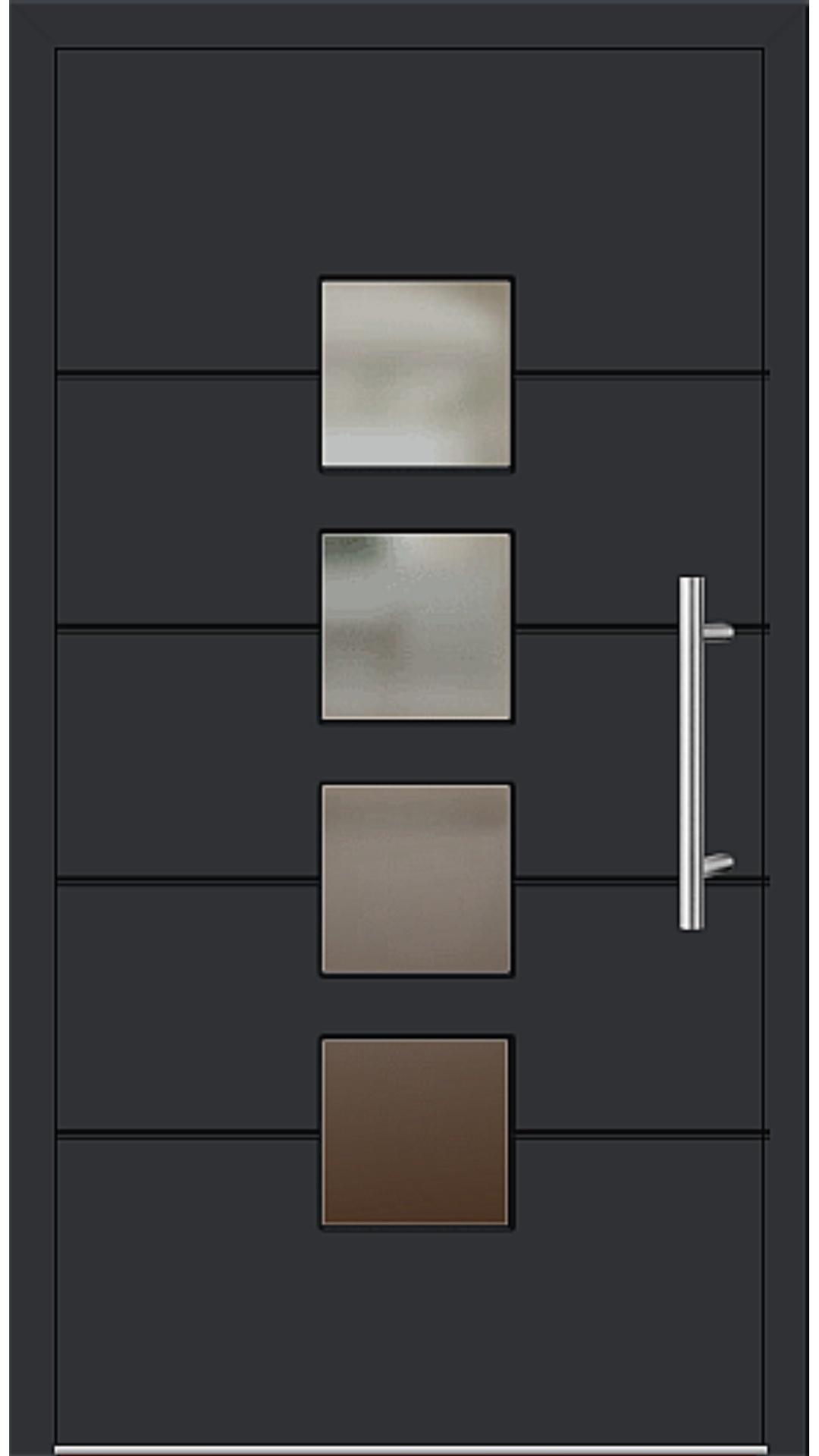 Aluminium Haustür Modell 6821-52 schwarz