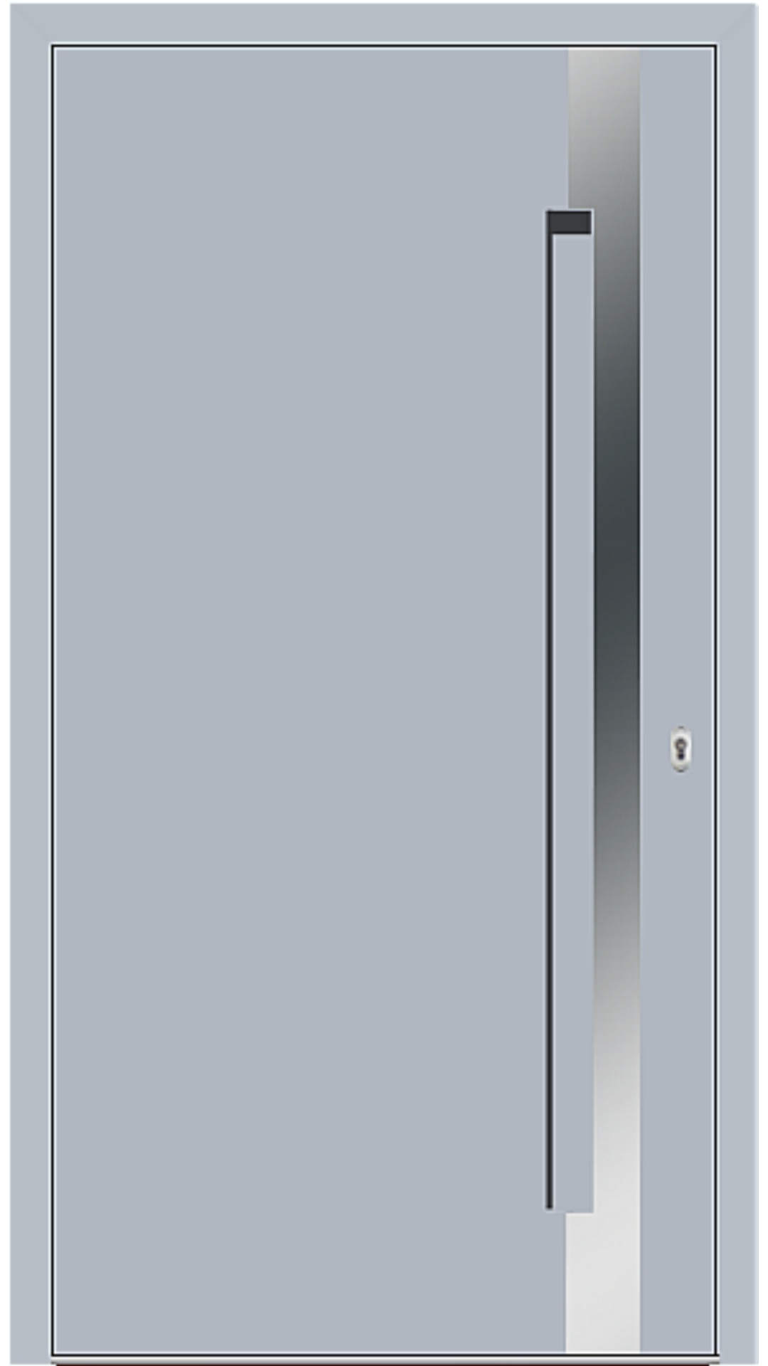 Aluminium Haustür Modell 6974-40 silbergrau