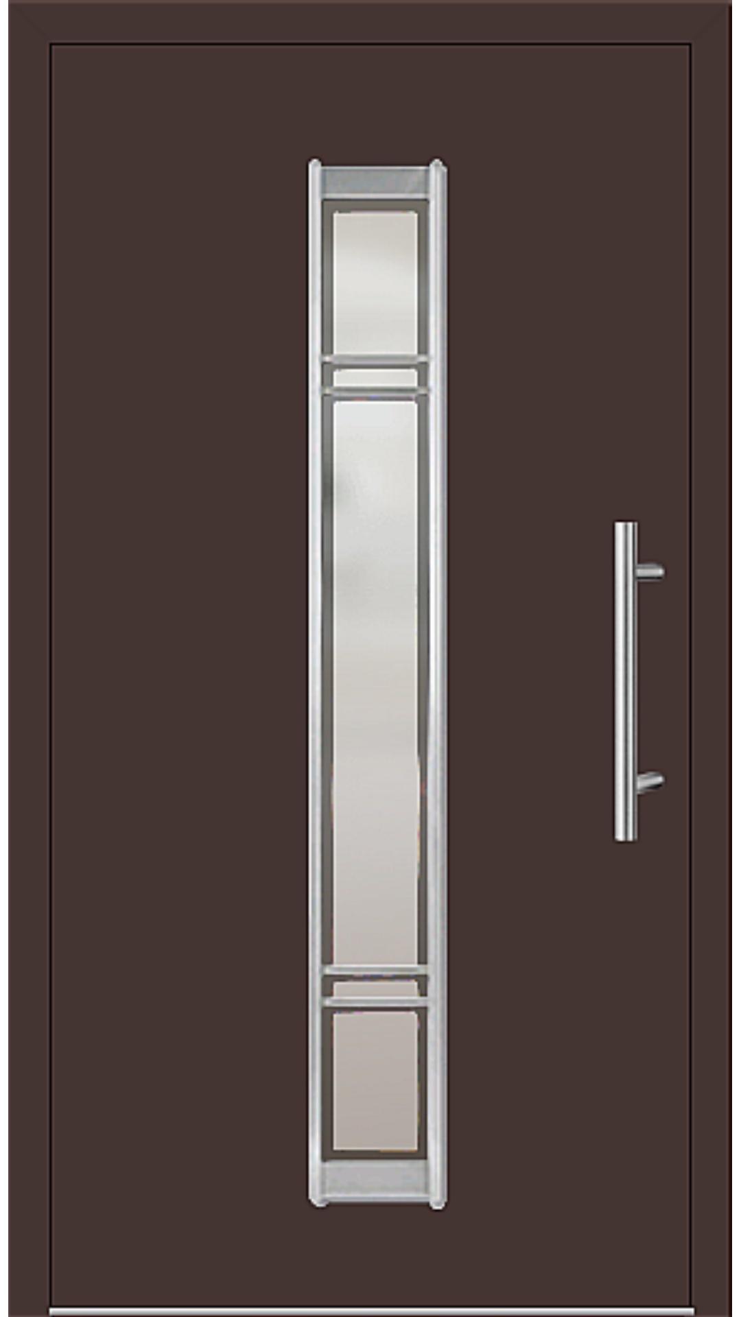 Aluminium Haustür Modell 6977-79 mahagonibraun
