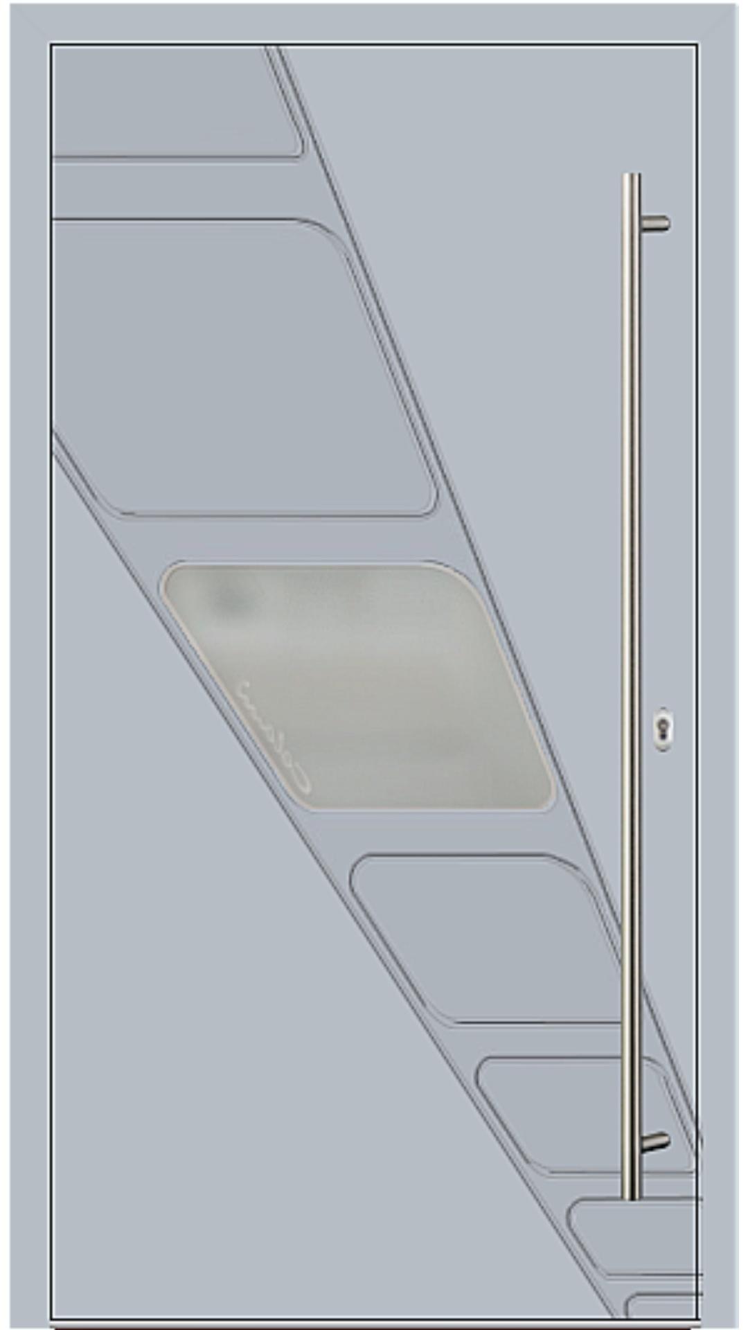 Holz-Alu Haustür Modell 66535 silbergrau